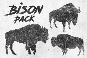 Bison Vector Clipart Illustrations