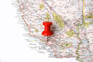 Map with pin on los angeles