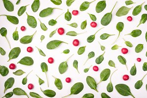 Spinach leaves and radish pattern