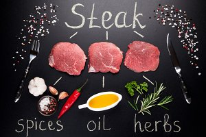 Meat steak cooking concept