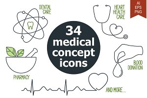 34 medical concept icons set