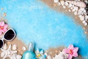 Beach accessories. Summer background