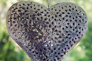 iron heart hanging on a chain