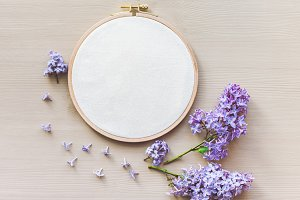 mockup with an embroidery hoop.