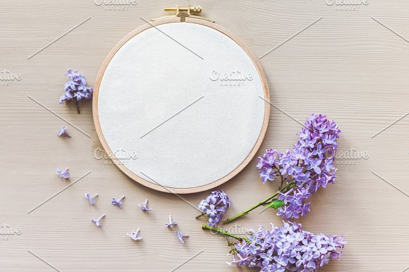 Mockup With An Embroidery Hoop