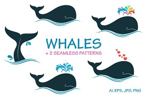 Whales vector set
