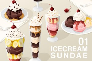 Set of Icecream Sundae 01