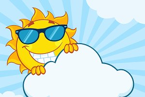 Summer Sun Character With Sunglasses