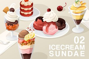 Set of Icecream Sundae 02