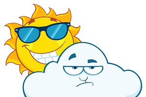 Smiling Sun With Grumpy Cloud