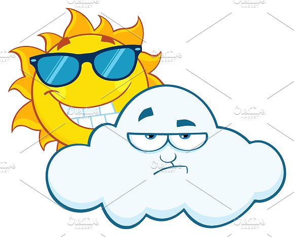 Smiling Sun With Grumpy Cloud