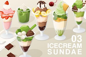 Set of Icecream Sundae 03