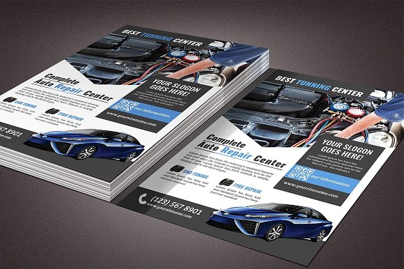 car repair flyer template flyer templates creative market