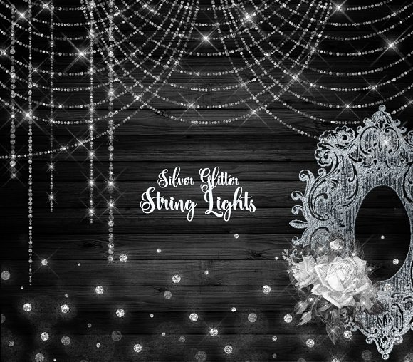 Silver Glitter String Lights