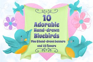Storybook Bluebirds Banners & Blooms