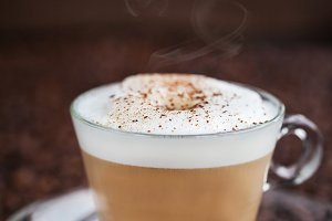 Cup of fresh hot latte
