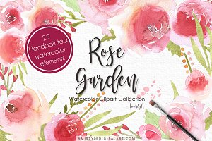 Rose Garden Watercolor Clipart Set