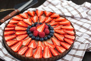 Delicious chocolate berry tart