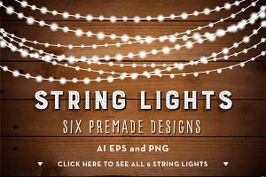 String Lights Bunches Clip Art Set