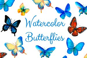 Watercolor Butterflies (PNG + JPG)