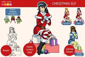 Christmas Elf with Mistletoe