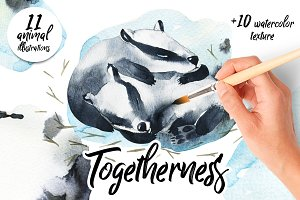 Togetherness-watercolor animals