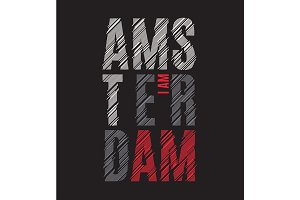 Amsterdam tee print. T-shirt design graphics stamp label typogra