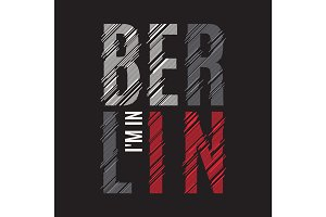 Berlin tee print. T-shirt design graphics stamp label typography