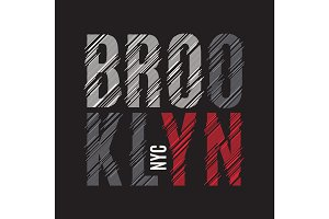 Brooklyn New York tee print. T-shirt design graphics stamp label