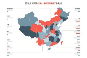 Detailed map of China. Vector template for infographics.
