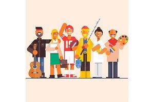 Set professions doctor,artist.fisherman,lawyer,guitarist,player. Flat vector illustration