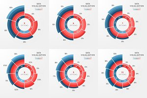Set of vector circle chart infographic template for data visuali