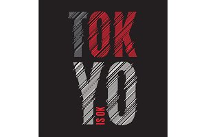 Tokyo tee print. T-shirt design graphics stamp label typography.