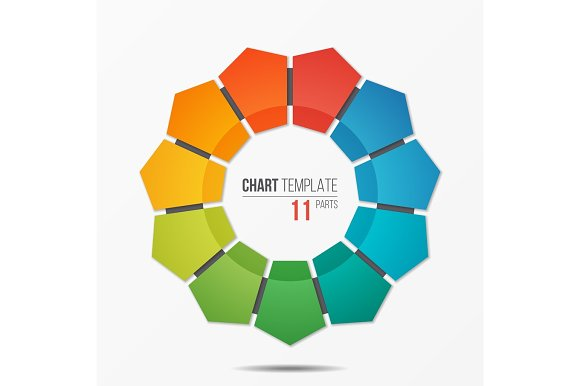 polygonal circle chart infographic template with 11 parts