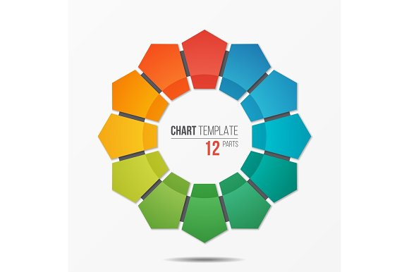 Polygonal circle chart infographic template with 12 parts polygonal circle chart infographic template with 12 parts illustrations creative market ccuart Images