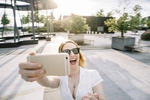 Happy girl selfie