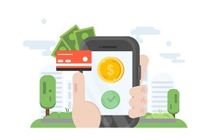 Mobile banking. Shape illustration