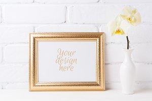 Golden landscape frame mockup