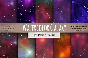 Watercolor galaxy digital paper