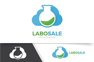 Logo combination of flask and cloud