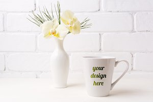 White coffee latte mug mockup