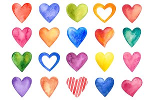 Watercolor Hearts (vector+raster)