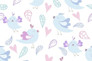 Set of birds seamless pattern