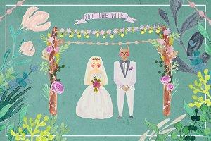 Cute animal wedding set