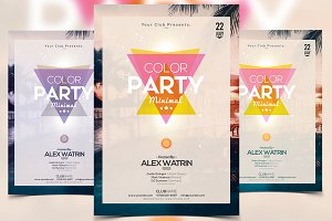 Color Party - Minimal PSD Flyer