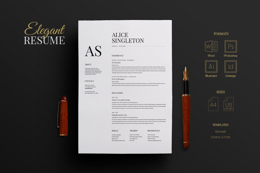 Elegant Resume Templates Creative Market