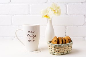 White coffee cappuccino mug mockup