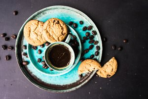 Morning coffee and chocolate cookies
