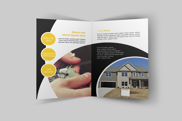 real estate bi fold brochure brochure templates creative market