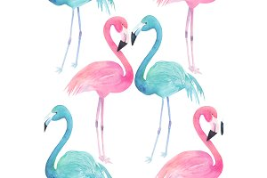 Watercolor Pattern with Flamingo